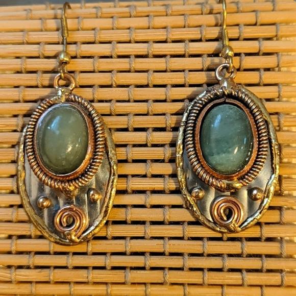 Beautiful Anju Jade and mixed metal earrings